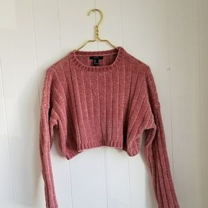 Pink chenille cropped sweater